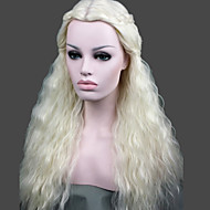 abordables Pelucas-Pelo sintético pelucas Rizado Peluca con trenzas Raya en medio Sin Tapa Peluca de carnaval Peluca de Halloween Larga Blanco