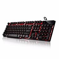 abs anahtar kutusu led 3 renkli arka ışık usb kablolu arka aydınlatmalı oyun klavye (siyah)