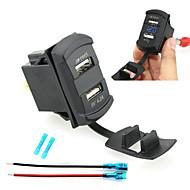 iztoss Dual USB autós töltő készülék kék led digitális kijelző voltmérő vezetékek és szigetelt hőre zsugorodó csatlakozók