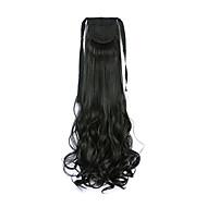 검은 곱슬 합성 긴 곱슬 머리 클로 클립 가발 포니 테일