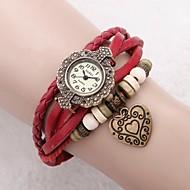 Női Ruha óra Divatos óra Karkötőóra Japán Kvarc Bőr Valódi bőr Zenekar Régies (Vintage) Heart Shape Virág Bohém Piros Piros
