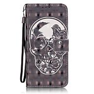 Для Samsung Galaxy S7 Edge Бумажник для карт / Кошелек / со стендом / Флип / С узором Кейс для Чехол Кейс для Череп МягкийИскусственная