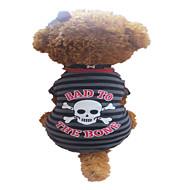 お買い得  -犬 Tシャツ 犬用ウェア 縞柄 スカル グレイ/レッド コットン コスチューム ペット用