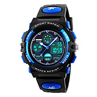 cheap Sport Watches-SKMEI Sport Watch Quartz 30 m Water Resistant / Water Proof Alarm Calendar / date / day PU Band Analog-Digital Fashion Black - Yellow Red Blue Two Years Battery Life / Chronograph / Dual Time Zones