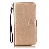 Недорогие Чехлы и кейсы для Galaxy S2-Кейс для Назначение SSamsung Galaxy Кейс для  Samsung Galaxy Бумажник для карт Кошелек со стендом Флип Рельефный Чехол Цветы Мягкий Кожа
