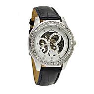 お買い得  機械式腕時計-WINNER 女性用 機械式時計 手巻き式 バンド 光沢タイプ ブラック