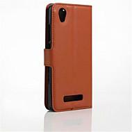 お買い得  携帯電話ケース-ケース 用途 ZTE ZTEケース カードホルダー スタンド付き フリップ フルボディーケース 純色 ハード PUレザー のために ZTE Blade A452