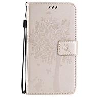 Недорогие Чехлы и кейсы для Galaxy J1-Кейс для Назначение SSamsung Galaxy Кейс для  Samsung Galaxy Бумажник для карт Кошелек со стендом Флип Рельефный Чехол дерево Мягкий Кожа