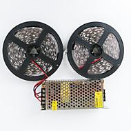 z®zdm 2x5m 140W 600x5050 smd caldo / freddo AC110-240V bianco bianco al trasformatore dc12v10a