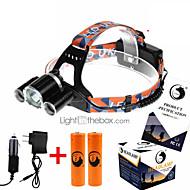 お買い得  フラッシュライト/ランタン/ライト-U'King ZQ-X821 ヘッドランプ LED 3500 lm 4.0 バッテリー&チャージャー付き 充電式 キャンプ / ハイキング / ケイビング