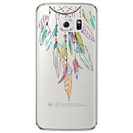 Недорогие Чехлы и кейсы для Galaxy S6 Edge Plus-Кейс для Назначение SSamsung Galaxy Samsung Galaxy S7 Edge Прозрачный / С узором Кейс на заднюю панель  Перья Мягкий ТПУ для S7 edge / S7 / S6 edge plus