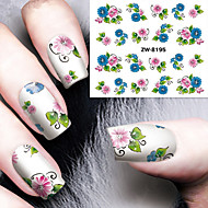 cheap Makeup & Nail Care-Fashion Printing Pattern Water Transfer Printing Gouache Flower Nail Stickers