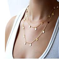 女性 チェーンネックレス ステートメントネックレス 合金 ファッション シンプルなスタイル ダブルレイヤー 欧風 コスチュームジュエリー ジュエリー 用途 日常 カジュアル
