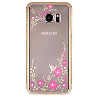 Для Samsung Galaxy S7 Edge Стразы / Покрытие / Прозрачный / С узором Кейс для Задняя крышка Кейс для Цветы Твердый Металл SamsungS7 edge