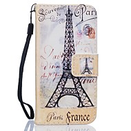 Для Кейс для  Samsung Galaxy Кошелек / Бумажник для карт / со стендом Кейс для Чехол Кейс для Эйфелева башня Твердый Искусственная кожа