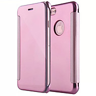 Недорогие Кейсы для iPhone 8 Plus-Кейс для Назначение Apple iPhone X iPhone 8 Зеркальная поверхность Флип Чехол Сплошной цвет Твердый ПК для iPhone X iPhone 8 Pluss iPhone