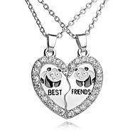Dámské Ryté Náhrdelníky s přívěšky Y Náhrdelník Štras Postříbřené Srdce Kytky láska Život stromu Nejlepší přátelé dámy Evropský Módní počáteční šperky Roztomilý Stříbrná Náhrdelníky Šperky Pro
