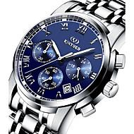 Недорогие Фирменные часы-KINYUED Муж. Наручные часы Календарь / Секундомер / Защита от влаги Нержавеющая сталь Группа Роскошь / На каждый день / Мода Серебристый металл / Фосфоресцирующий