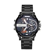 CAGARNY 남성 패션 시계 손목 시계 듀얼 타임 존 석영 스테인레스 스틸 밴드 빈티지 멋진 럭셔리 블랙 화이트