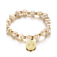 Női Strand Karkötők Gyöngy Arannyal bevont 18K arany Divat Imádni való Dupla Pearl Geometric Shape Aranyozott Ékszerek 1db
