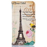 Кейс для Назначение SSamsung Galaxy J5 (2016) Кошелек Бумажник для карт со стендом С узором Чехол Эйфелева башня Твердый Искусственная
