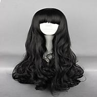 お買い得  -人工毛ウィッグ / コスチュームウィッグ ウェーブ バング付き 合成 ブラック かつら 女性用 非常に長いです キャップレス ブラック