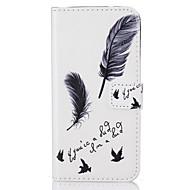 Недорогие Чехлы и кейсы для Galaxy A3(2016)-Кейс для Назначение SSamsung Galaxy A5(2016) A3(2016) Бумажник для карт Флип С узором Чехол  Перья Твердый Кожа PU для A5(2016) A3(2016)