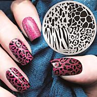manicure ronde plaat geometrie zebra blauw membraan diy stempel drukken template