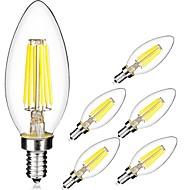 5W E14 LED필라멘트 전구 C35 6 LED가 COB 따뜻한 화이트 차가운 화이트 560lm 6000K AC 220-240V