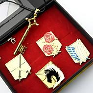 Insigne / Meer Accessoires geinspireerd door Attack on Titan Eren Jager Anime Cosplay Accessoires Kettingen / Insigne Goud Legering