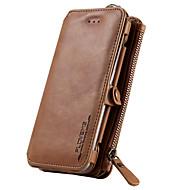 Недорогие Чехлы и кейсы для Galaxy S7-Для Бумажник для карт / Кошелек / со стендом Кейс для Чехол Кейс для Один цвет Твердый Натуральная кожа для SamsungS7 / S6 edge plus / S6