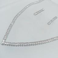 billiga -Dam Smycken Set Brudkläder Zircon Kubisk Zirkoniumoxid Dekorativa Halsband Örhängen Till Bröllop Party Bröllopsgåvor