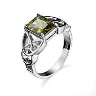 billige -Dame Kvadratisk Zirconium Ring Zirkonium Kvadratisk Zirconium Legering Europæisk Moderinge Smykker Mørkegrøn Til Afslappet 6 / 7 / 8 / 9 / 10