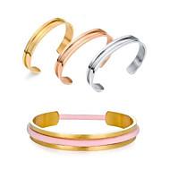 billige -Armbånd Manchetarmbånd Rustfrit Stål Mode Party Smykker Gave Gylden Sølv,1pc