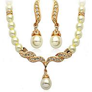 billige -Dame Smykke Sæt Perle Lyserød Brude luksus smykker Perle Simuleret diamant 1 Halskæde 1 Par Øreringe Til Bryllup Daglig Bryllupsgaver