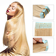 abordables Maquillaje y manicura-Febay Adhesivo Extensiones de cabello humano Recto Cabello Virgen Cabello Brasileño Blonde Rubio platino Castaño Medio