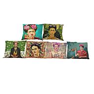 abordables Textiles para el Hogar-6 PC Lino Funda de almohada Cobertor de Cojín, Un Color Geométrico Con Texturas Estilo playero Reforzar Tradicional/Clásico