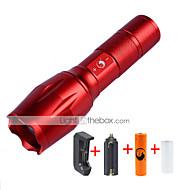 U'King LED taskulamput LED 2000 lm 5 Tila Cree XM-L T6 Akulla ja laturilla Zoomable Säädettävä fokus Kompakti koko Himmennettävissä