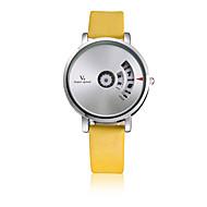 V6 남성용 패션 시계 석영 / 가죽 밴드 캐쥬얼 블랙 화이트 레드 노란색