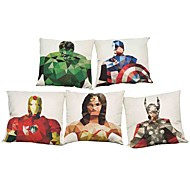 Set of 5 Green Giant Iron Man pattern  Linen Pillowcase Sofa Home Decor Cushion Cover (18*18inch)