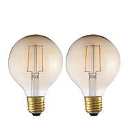 cheap LED Filament Bulbs-GMY® 2pcs 2W 180 lm E26/E27 LED Filament Bulbs G80 2 leds COB Decorative Amber AC 220-240V