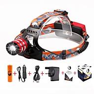 U'King Hodelykter Frontlykt LED 2000 lm 3 Modus Cree XM-L T6 med batteri og ladere Zoombare Justerbart Fokus Ekstra Kraftig Enkel å bære