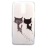 お買い得  携帯電話ケース-ケース 用途 LG クリア パターン バックカバー 猫 ソフト TPU のために LG X Screen LG X Power LG G6