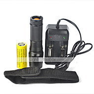 5 LED Flashlights / Torch LED 2000 lm 5 Mode Cree XM-L T6 with Battery and Charger Zoomable Impact Resistant Rechargeable Waterproof