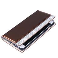 Кейс для Назначение SSamsung Galaxy S7 edge S7 Бумажник для карт Кошелек Стразы Флип Чехол Сплошной цвет Твердый Искусственная кожа для