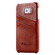 Недорогие Чехлы и кейсы для Galaxy S6 Edge Plus-Кейс для Назначение SSamsung Galaxy Бумажник для карт Кошелек Кейс на заднюю панель Сплошной цвет Твердый Настоящая кожа для S7 S6 edge