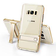 Недорогие Чехлы и кейсы для Galaxy S8-Кейс для Назначение SSamsung Galaxy S8 Plus S8 Защита от удара со стендом Прозрачный Кейс на заднюю панель Сплошной цвет Твердый ТПУ для