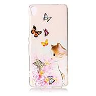Pour Etuis coque Transparente Relief Motif Coque Arrière Coque Chat Fleur Papillon Flexible PUT pour SonySony Xperia XZ Premium Sony