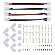 abordables Bases de Lámpara-Conector de tira led y soporte de montaje 5050 rgb conector de luz de tira l forma sin soldadura encaje a presión 4 conductores led rgb
