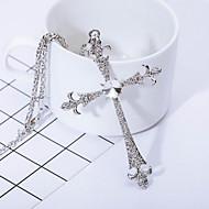 お買い得  -男性用 合成ダイヤモンド ペンダントネックレス  -  十字架 クロス シルバー ネックレス ジュエリー 用途 贈り物, 日常, カジュアル
